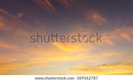 Beautiful sky and soft golden light of morning