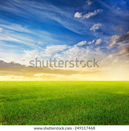 beautiful sky and sunset fields - stock photo