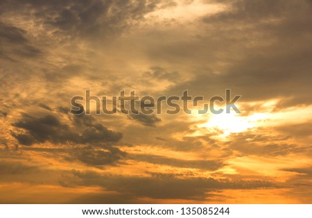 Beautiful sky at sunrise. Nature composition