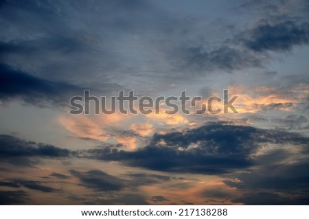 Beautiful sky at sunset in summer.