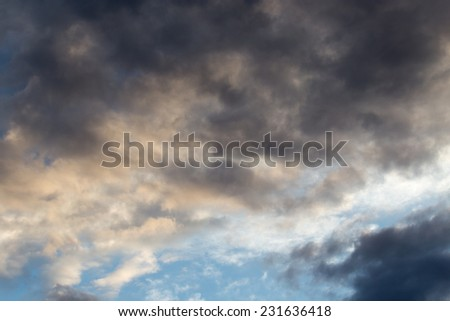 beautiful sky background with clouds at sunset - stock photo