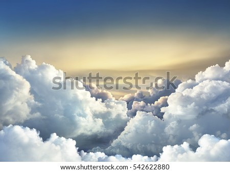 Beautiful sky background with large clouds