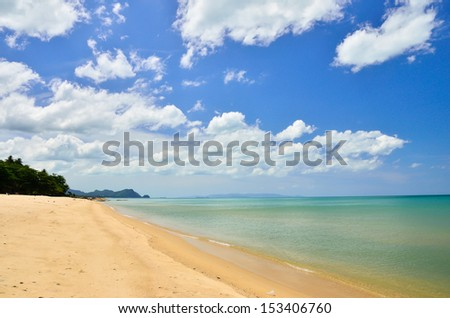 Beautiful sky beaches and coconut leaves Thailand