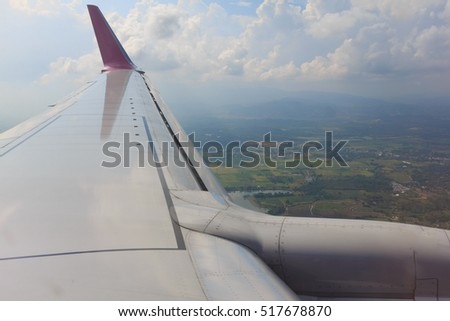 beautiful sky cloud view look through glass window plane