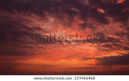 Beautiful sky just after the sunset - stock photo