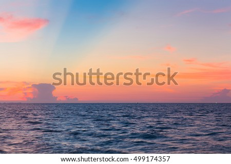 Beautiful sky over seacoast, natural landscape background