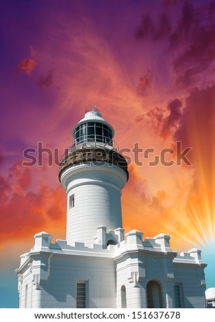 Beautiful sky over White Lighthouse. - stock photo