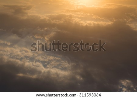 beautiful sky, sunrise above sky and clouds, light rays of sunbeam, solar of clean energy power - stock photo
