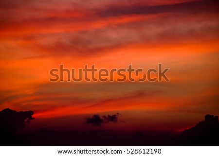 Beautiful sky with burning sunlight at dusk