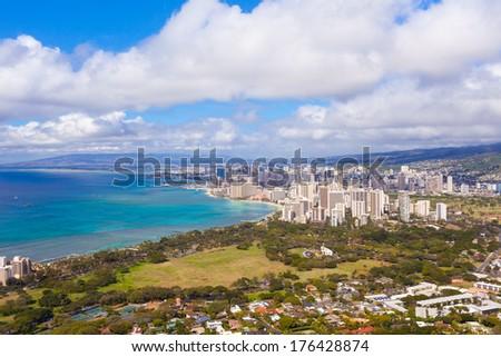 Beautiful skyline, Honolulu, Oahu island, Hawaii. - stock photo