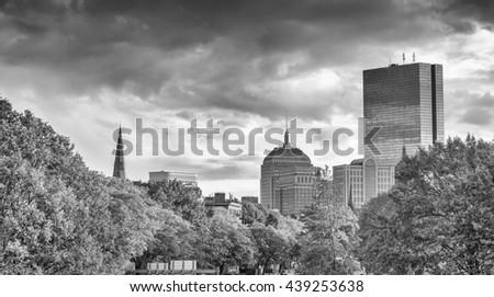 Beautiful skyline of Boston, panoramic view. - stock photo