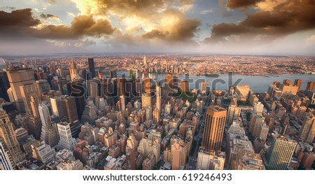 Beautiful skyline of Manhattan skyscrapers in the summer evening.
