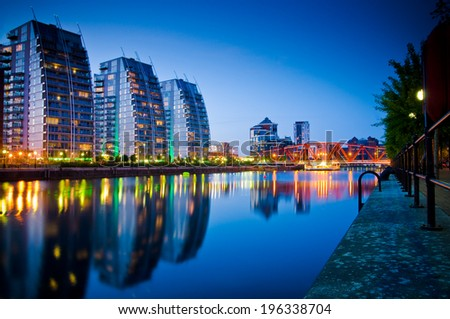 Beautiful skyline of Salford Quays Manchester - stock photo