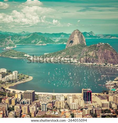 Beautiful skyline view of Rio de Janeiro, Brazil - stock photo