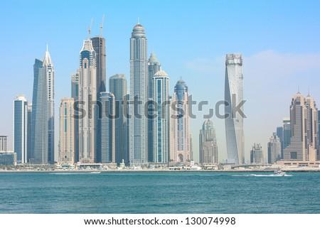 Beautiful skyscrapers in Dubai. UAE - stock photo