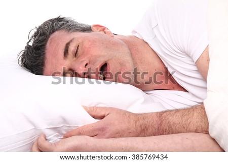 Beautiful sleeping man - stock photo