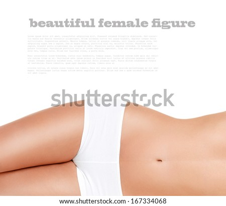 beautiful, slender female figure on a white background  - stock photo