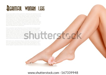 Beautiful slender female legs on a white background  - stock photo