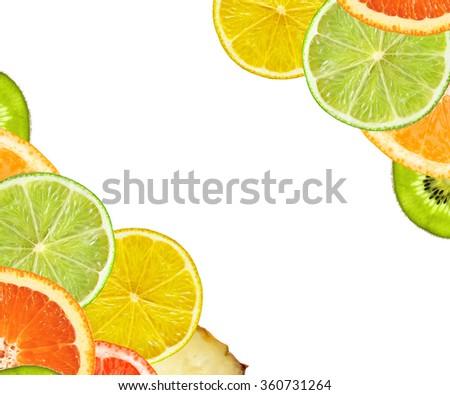 Beautiful slice of fresh juicy kiwi isolated on white background - stock photo