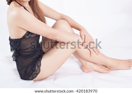 Beautiful slim body of woman wearing sexy on the bed
