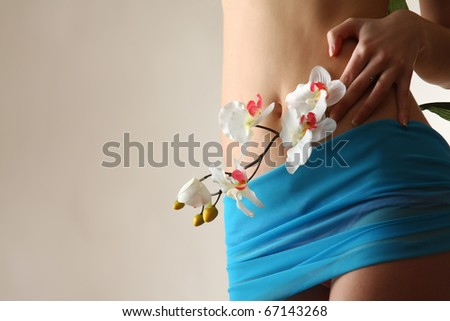 Beautiful slim female body. Isolated over white background. - stock photo