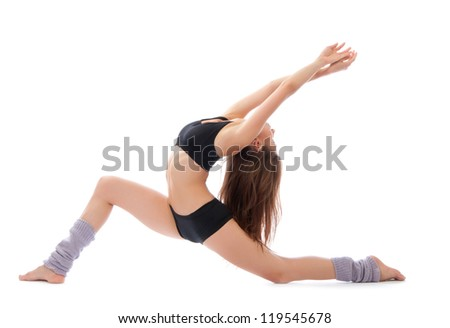 Beautiful slim fitness woman stretching exercise on a white background - stock photo