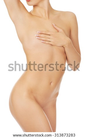 Beautiful slim naked  woman body.