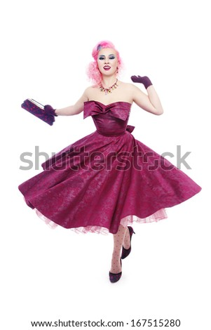Beautiful slim sexy happy girl in gorgeous vintage dress over white background - stock photo