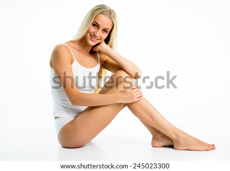 Beautiful slim woman in lingerie - stock photo
