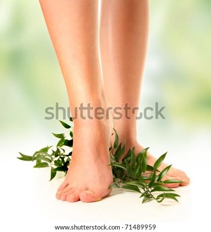 beautiful slim woman's legs on green background - stock photo