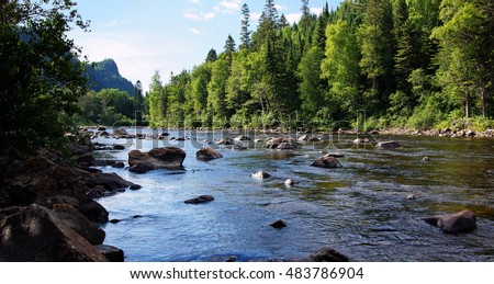Beautiful small salmon river in Quebec, Canada