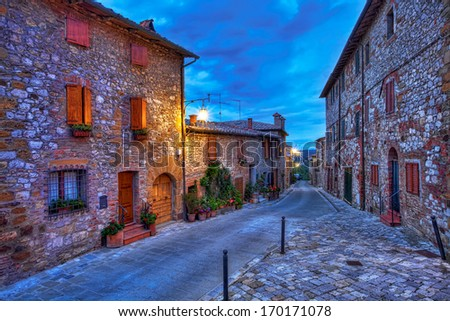 Beautiful small town of Montefollonico in Tuscany, Italy - stock photo