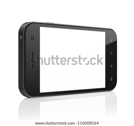 Beautiful smartphone on white background. Generic mobile smart phone, 3d render. - stock photo