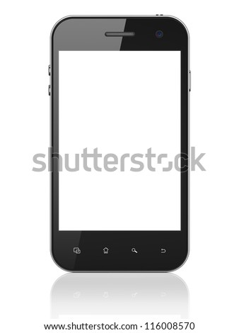 Beautiful smartphone on white background. Generic mobile smart phone, 3d render - stock photo
