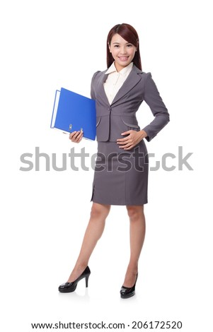 beautiful smile business woman full length isolated on white background, asian