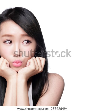 Beautiful smile happy woman eye look to empty copy space isolated on white background. asian model - stock photo