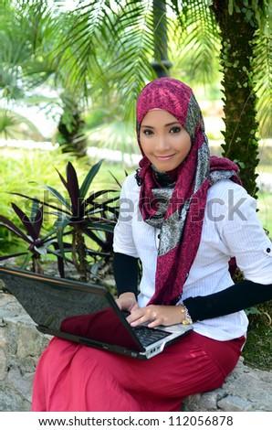 Beautiful Smile Muslim woman - stock photo