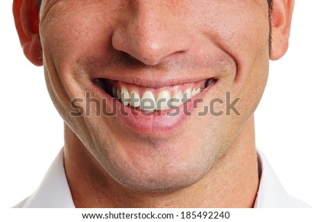 Beautiful smile of man close up - stock photo