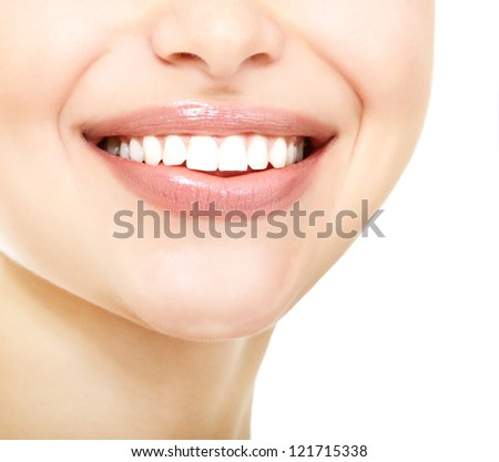 Beautiful smile of young fresh woman with great healthy white teeth over white background - stock photo