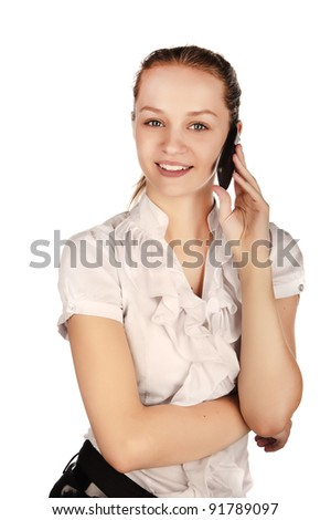 beautiful smiled business woman with a phone, a young girl talking on a cell phone, business woman portrait Caucasian, isolated on white background. isolated image