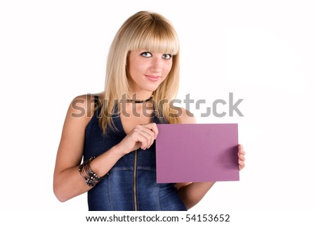 Beautiful smiling blond woman showing blank paper sheet.