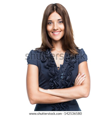Beautiful smiling business woman in blue dress, isolated on white background - stock photo