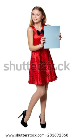 Beautiful smiling business woman in the red, holding a blank billboard, isolated on a white background - stock photo