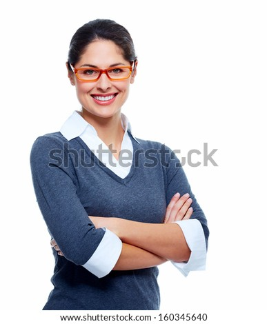 Beautiful smiling business woman isolated white background - stock photo