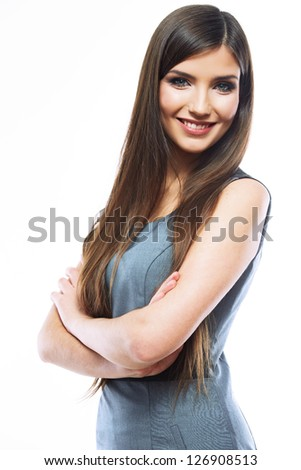 Beautiful smiling business woman standing against white background.