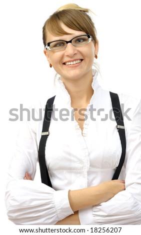 Beautiful smiling businesswoman, isolated on white - stock photo