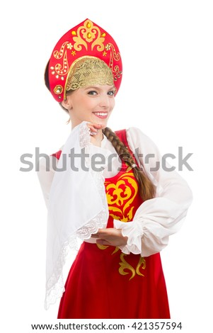 beautiful  smiling caucasian girl in russian folk costume isolated on white - stock photo
