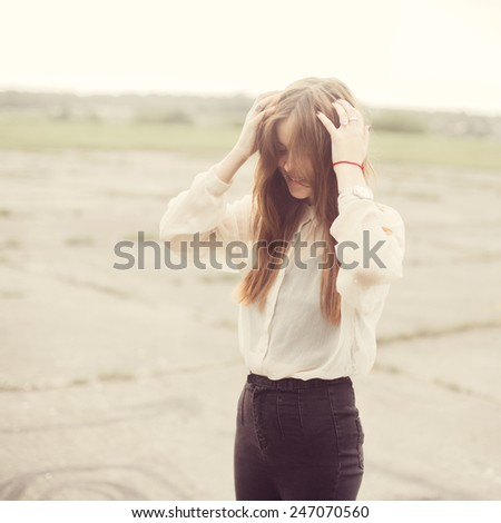 beautiful smiling girl - stock photo