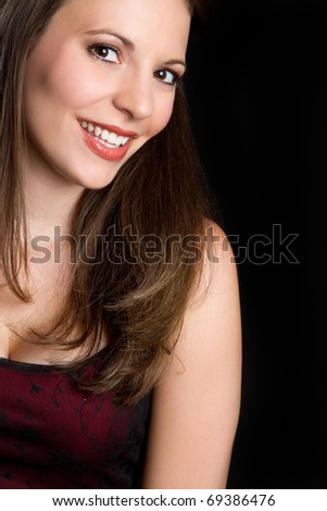 Beautiful smiling girl closeup portrait