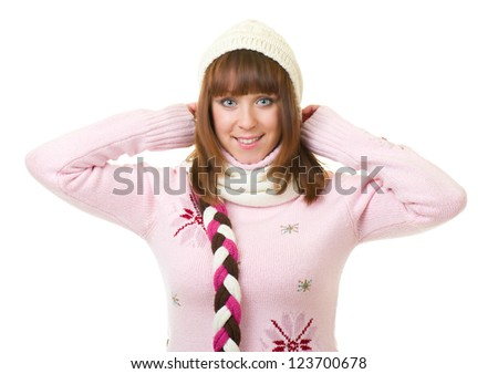 Beautiful smiling girl in warm clothes on white background - stock photo